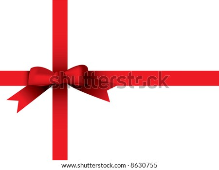 Illustrated red ribbon round a plain white present - stock vector