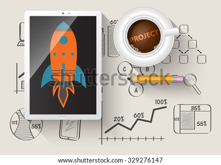 Illustrated rocket in digital tablet as a project. Notepad with business sketches. - stock vector