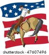 Illustrated saddle bronc rider with an abstract American flag background. Rider and flag are on separate layers. Vector file. - stock vector