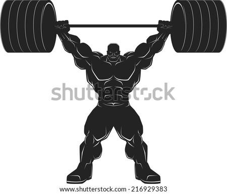 Illustration, a ferocious bodybuilder with a barbell, vector silhouette - stock vector
