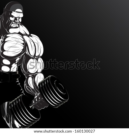 Illustration: a ferocious bodybuilder with dumbbell - stock vector