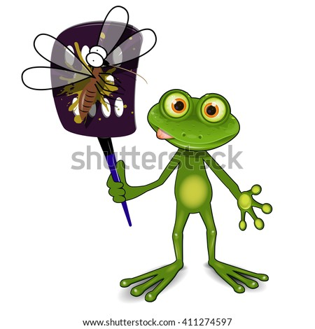 Illustration a green frog kills a mosquito - stock vector