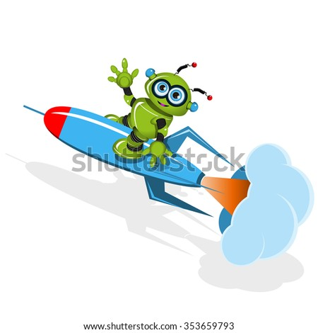 Illustration a Green robot on the rocket - stock vector