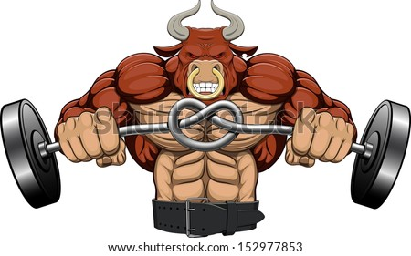 Illustration: a strong angry bull with a barbell - stock vector