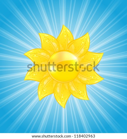 Illustration abstract background with sun and light rays - vector - stock vector