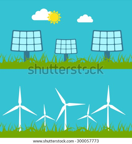 Illustration Abstract Banners with Solar Panels and Wind Generators, Alternative Sources Energy - Vector - stock vector
