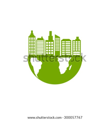 Illustration Abstract Ecology Green Town, Eco Friendly Concept - Vector - stock vector