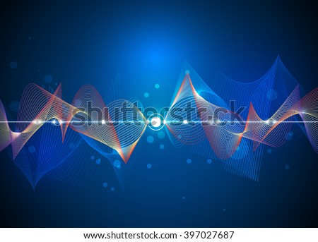 Illustration Abstract futuristic 3D Mesh and wave line. Vector design communication technology on blue background. Futuristic- digital technology concept - stock vector