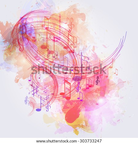illustration abstract music background - stock vector