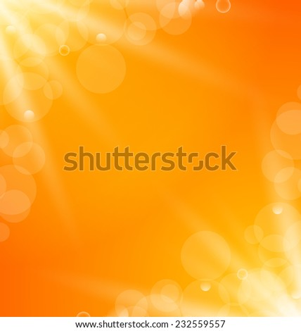 Illustration abstract orange bright background with sun light rays - vector - stock vector