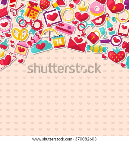 Illustration Abstract Postcard for Happy Valentine's Day. Flat Valentine Icons, Cupid Arrows, Love Letter, Gender Symbols, Present, Strawberry, Candy - Vector - stock vector