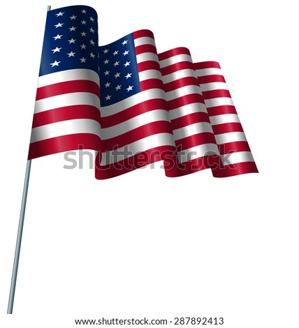 Illustration American Flag Waving Wind, Isolated on White Background - Vector - stock vector