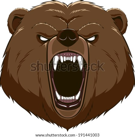 Illustration: angry bear head mascot - stock vector