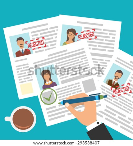 Illustration Approved Stamp Sign Resume Female - Vector - stock vector