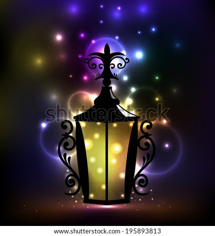 Illustration arabic forging lantern for Ramadan Kareem - vector - stock vector
