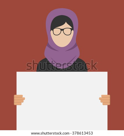 Illustration Arabic Woman Holding a Blank Horizontal Banner, Copy Space for Your Text on Poster - Vector - stock vector
