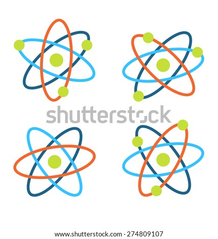 Illustration Atom Symbols for Science, Colorful Icons Isolated on White Background - Vector - stock vector