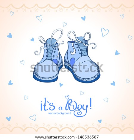 illustration baby shower blue shoes - stock vector