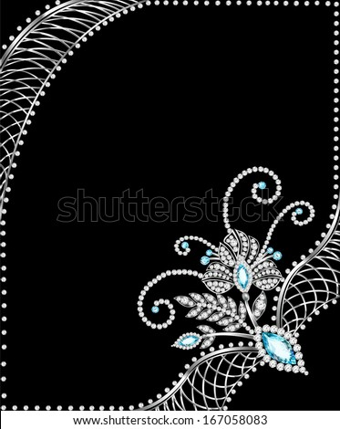 illustration background frame with jewels of  silver ornaments - stock vector