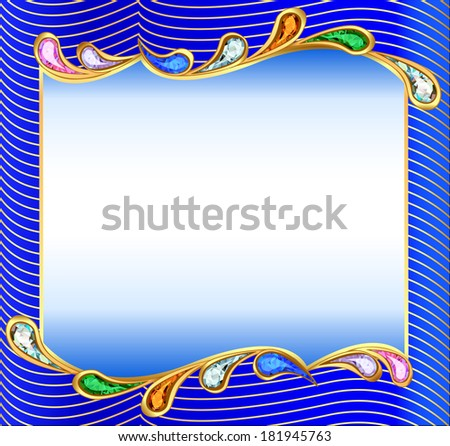 illustration background with a wave of precious stones and gold - stock vector