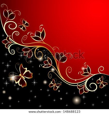illustration background with butterflies and flowers gold ornament - stock vector