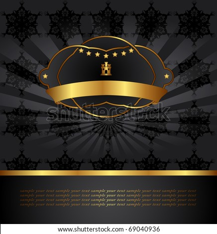 Illustration background with golden frame - stock vector