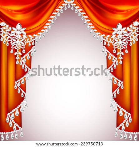 Illustration background with red curtains with precious stones for invitations - stock vector