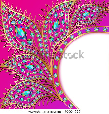 illustration background with the Golden peacock feathers of precious stones - stock vector
