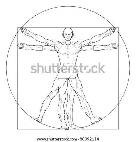 Illustration based on Leonardo da Vinci's classic Vitruvian man - stock vector