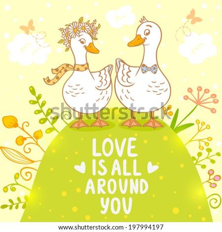 illustration beautiful card with cartoon cute ducks on nature - stock vector