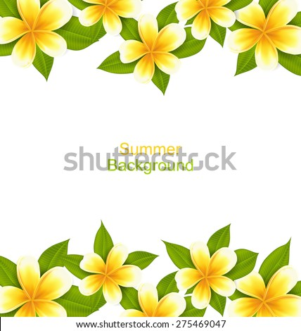 Illustration Beautiful Frame Made in Frangipani, Ornament with Exotic Flowers - Vector - stock vector