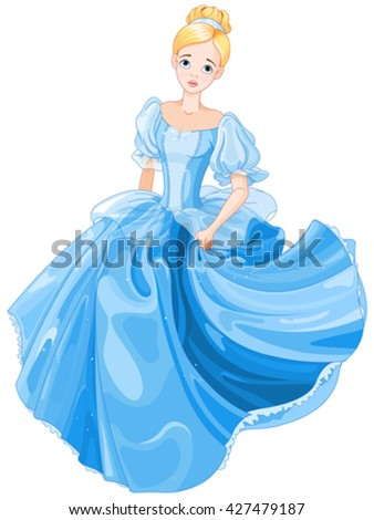 Illustration beautiful girl dressed ball gown - stock vector