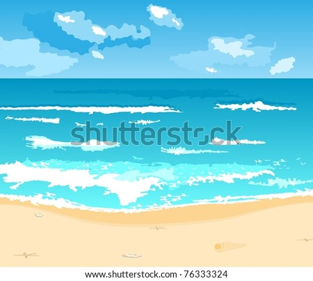 Illustration beautiful summer background with beach - vector - stock vector