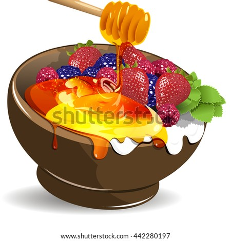 Illustration berries yogurt and honey in the cup - stock vector