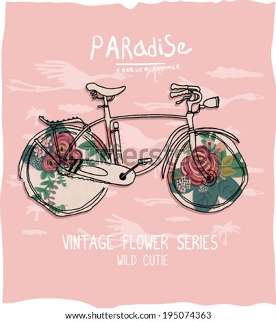illustration bike with flower 3 - stock vector