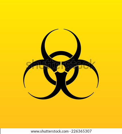 Illustration bio hazard sign, danger symbol warning - vector - stock vector