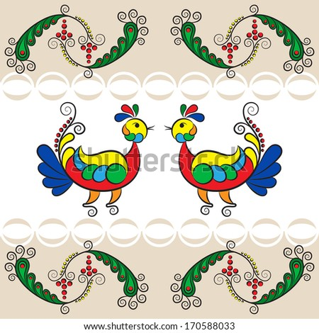 illustration birds on a branch in the style of Russian Folk Art - stock vector