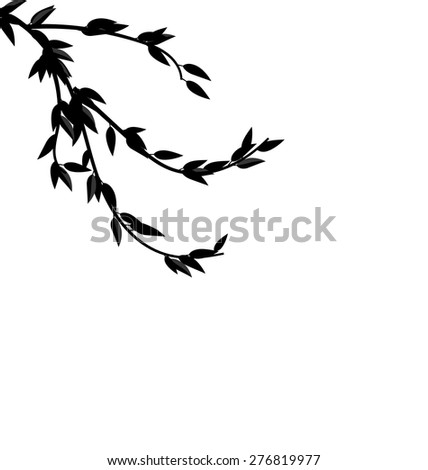 Illustration Black Silhouette Branch Tree with Leafs Frame for Design isolated on white - vector - stock vector