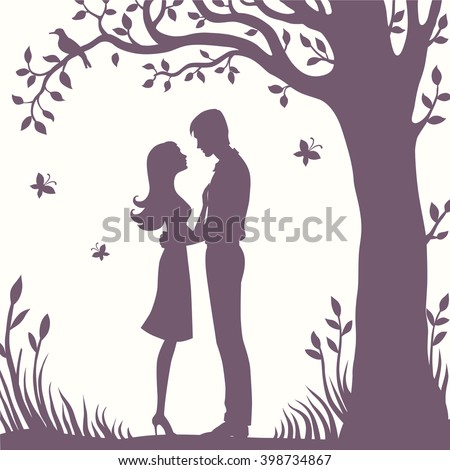 Illustration black silhouette of lovers embracing on a white background Couple in love Illustration of man and woman lovers - stock vector