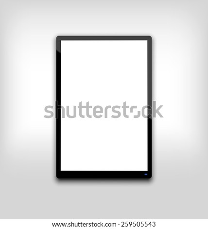 Illustration  black tablet pc computer blank white screen with light on blue led - vector - stock vector