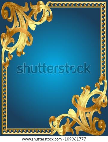 illustration blue background frame with gold(en) vegetable ornament - stock vector