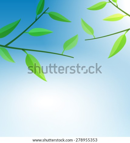 Illustration Branch Tree with Green Leaves and Blue Sky - Vector - stock vector