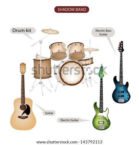 Illustration Brown Color Collection of Musical Instruments Shadow Band, Guitar, Electric Guitar, Electric Bass Guitar and Drum Kit in Retro Style   - stock vector