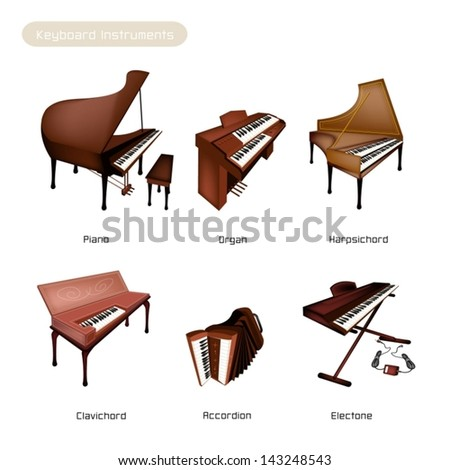 Illustration Brown Color of Vintage Musical Keyboard Instrument, Trombone, Baritone, Euphonium, Tuba and Sousaohone Isolated on White Background  - stock vector