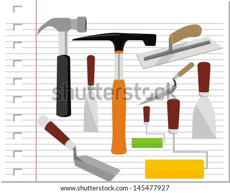 illustration building tools with on paper - stock vector