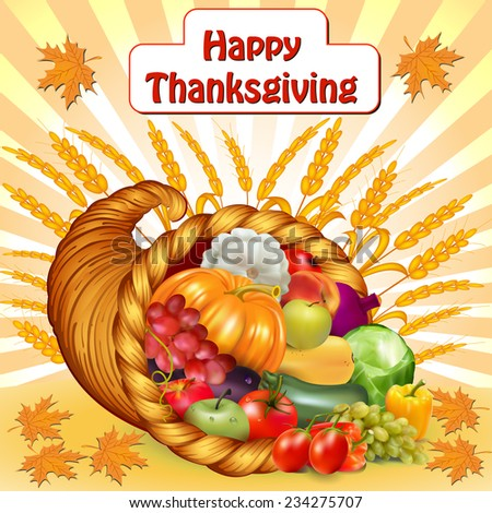 illustration card for Thanksgiving with a cornucopia of fruits and vegetables - stock vector