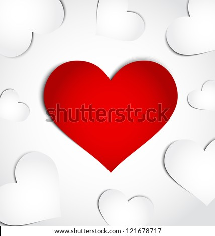 Illustration card of Valentine's day with paper hearts - vector - stock vector