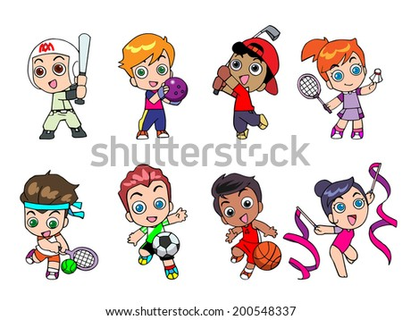 Illustration character Design of athlete cute cartoon gestures are unique. - stock vector