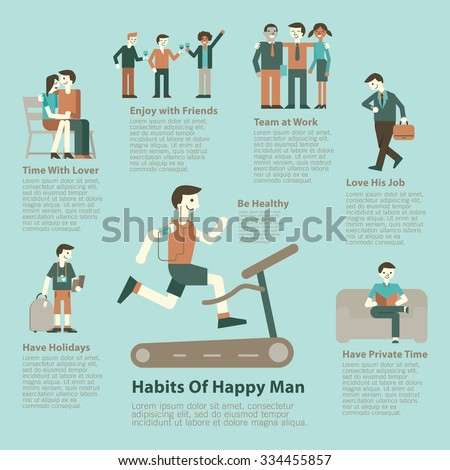 Illustration character set of happy man lifestyle. Infographics, simple character with flat design.   - stock vector