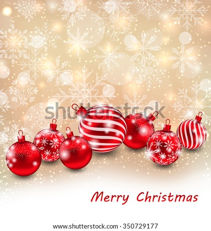 Illustration Christmas Abstract Shimmering Background with Red Balls, Shiny Wallpaper - Vector - stock vector